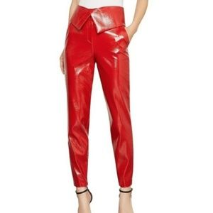 BCBG MAXAZRIA Faux Red Leather Peplum Pants Sz SM